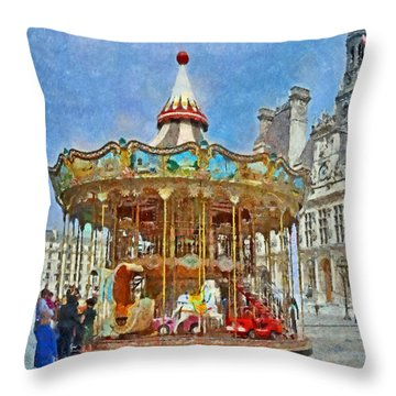 Carousel In Front Of The Hotel De Ville In Paris Throw Pillow
