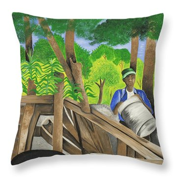 Carrying The Load Throw Pillow by Patricia Sabree