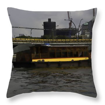 Cartoon - Colorful River Cruise Boat In Singapore Throw Pillow by Ashish Agarwal