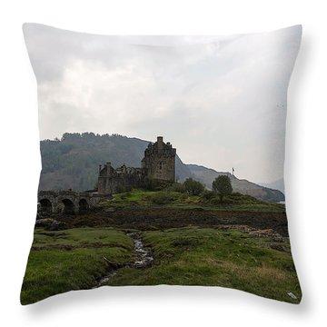 Cartoon - Structure Of The Eilean Donan Castle With A Stone Bridge Throw Pillow