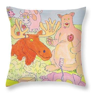Cartoon Animals Throw Pillow