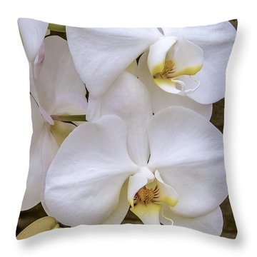 Cascade Of White Orchids Throw Pillow