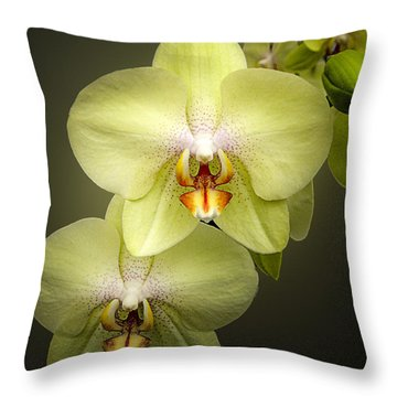 Cascade Of Yellow Orchids Throw Pillow