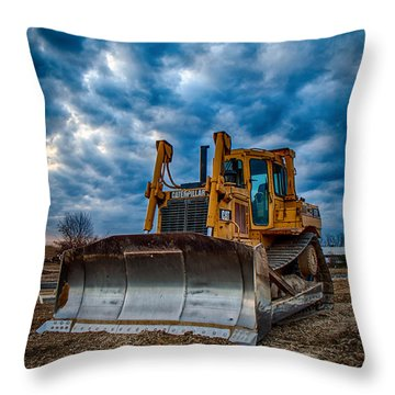 Cat Bulldozer Throw Pillow