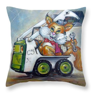Throw Pillow featuring the painting Cat C5x 190312 by Selena Boron