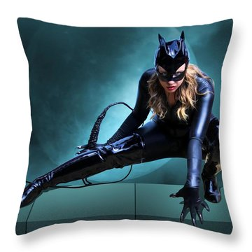 The Feline Fatale Throw Pillow
