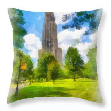Cathedral Of Learning University Of Pittsburgh Throw Pillow by Amy Cicconi