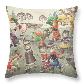 Cats On Skates Throw Pillow
