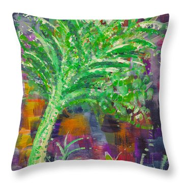 Throw Pillow featuring the painting Celery Tree by Holly Carmichael