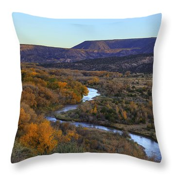 Chama River At Sunset Throw Pillow