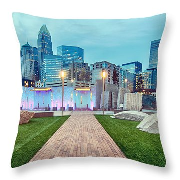 Charlotte City Skyline In The Evening Throw Pillow
