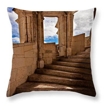Chateau De Blois Staircase / Loire Valley Throw Pillow