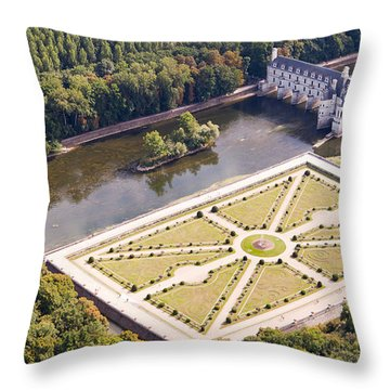 Chateau De Chenonceau And Its Gardens Throw Pillow by Mick Flynn