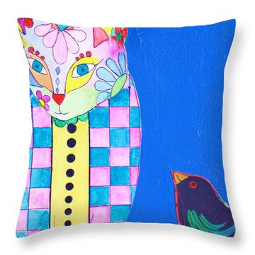 Checkered Cat Throw Pillow
