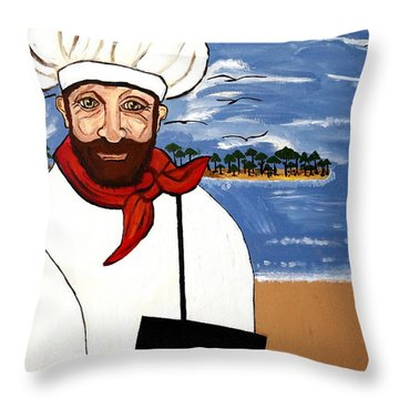 Throw Pillow featuring the painting Chef From Israel by Nora Shepley