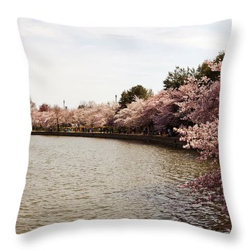 Cherry Blossom Trees At Tidal Basin Throw Pillow