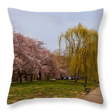 Cherry Blossom Trees In Potomac Park Throw Pillow