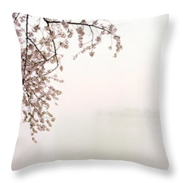 Cherry Blossoms At The Lakeside Throw Pillow