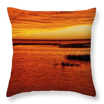 Cheyenne Bottoms Sunset Throw Pillow