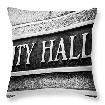 Chicago City Hall Sign In Black And White Throw Pillow by Paul Velgos