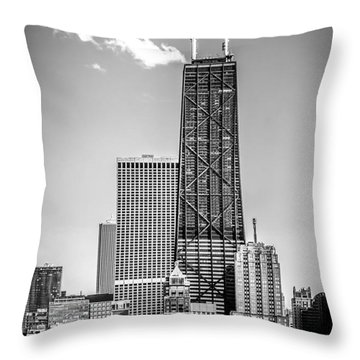 Chicago Hancock Building Black And White Picture Throw Pillow by Paul Velgos