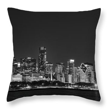Chicago Skyline At Night Black And White Panoramic Throw Pillow