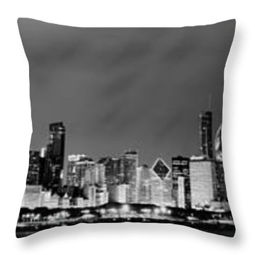 Chicago Skyline At Night In Black And White Throw Pillow