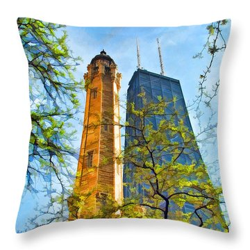 Chicago Water And Hancock Towers Throw Pillow by Christopher Arndt