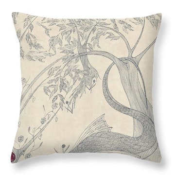 Throw Pillow featuring the drawing China The Dragon by Dianne Levy