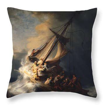 Christ In The Storm On The Sea Of Galilee Throw Pillow