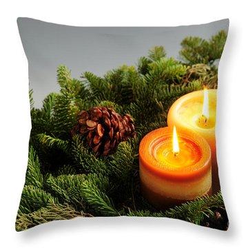 Christmas Candles Throw Pillow by Elena Elisseeva
