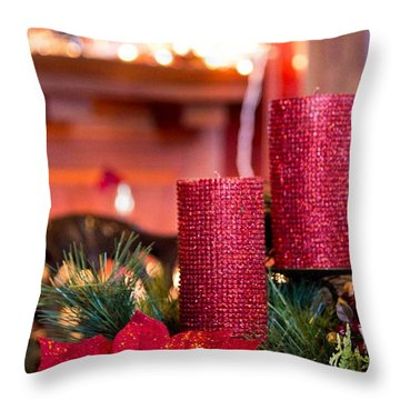 Christmas Candles Throw Pillow by Patricia Babbitt