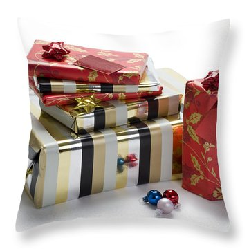 Throw Pillow featuring the photograph Christmas Gifts by Lee Avison