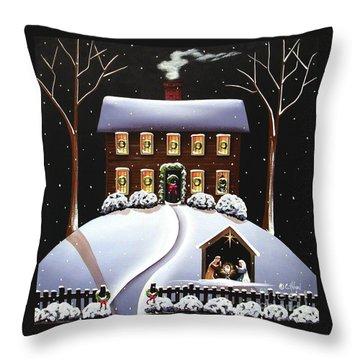 Christmas Nativity Throw Pillow by Catherine Holman