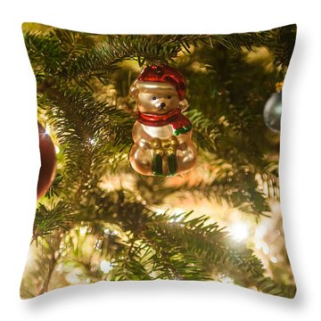 Throw Pillow featuring the photograph Christmas Tree Ornaments by Alex Grichenko