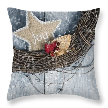 Red Leaves Snow Throw Pillows