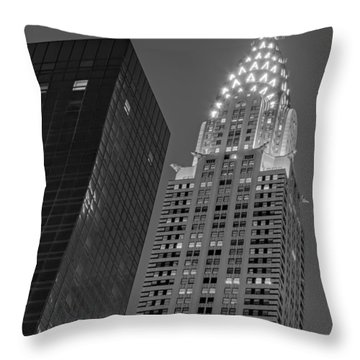 Chrysler Building Twilight Bw Throw Pillow by Susan Candelario