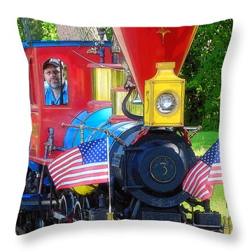 Chugging Along Throw Pillow by Geoff Crego