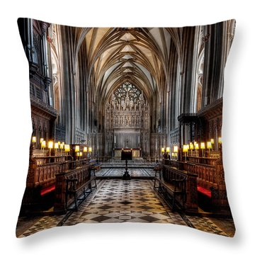 Church Interior Throw Pillow by Adrian Evans