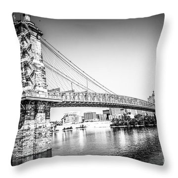 Cincinnati Roebling Bridge Black And White Picture Throw Pillow by Paul Velgos