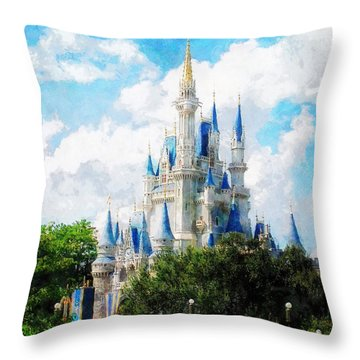 Cinderella Castle Throw Pillow by Sandy MacGowan