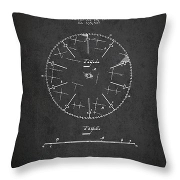 Circular Saw Patent Drawing From 1899 Throw Pillow by Aged Pixel