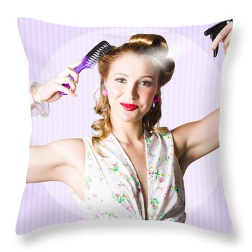 Classic 50s Pinup Girl Combing Hair Style Throw Pillow