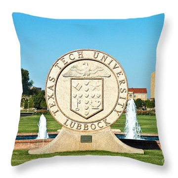 Throw Pillow featuring the photograph Classical Image Of The Texas Tech University Seal  by Mae Wertz