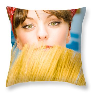 Cleaning Throw Pillow