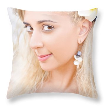 Clear Skin Woman With A Flower Near Face Throw Pillow