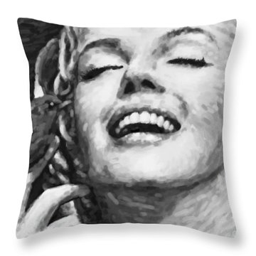 Close Up Beautifully Happy In Black And White Throw Pillow