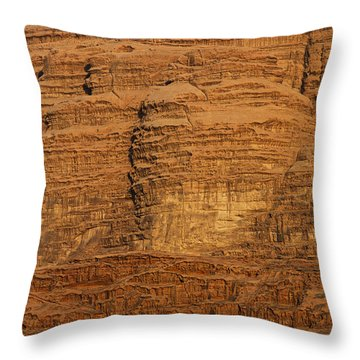 Close Up Of A Rocky Outcrop At Wadi Rum In Jordan Throw Pillow by Robert Preston