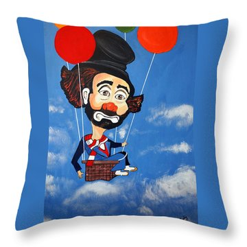 Throw Pillow featuring the painting Clown Up Up And Away by Nora Shepley