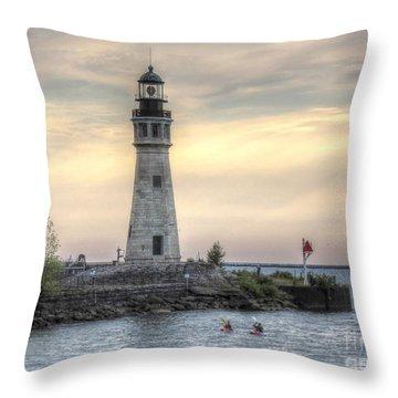 Coastguard Lighthouse Throw Pillow by Darleen Stry